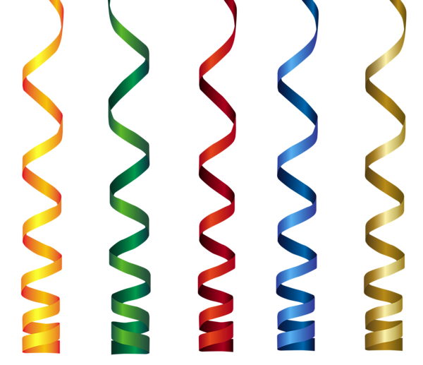 Transparent ribbons birthday. Curly png clip art