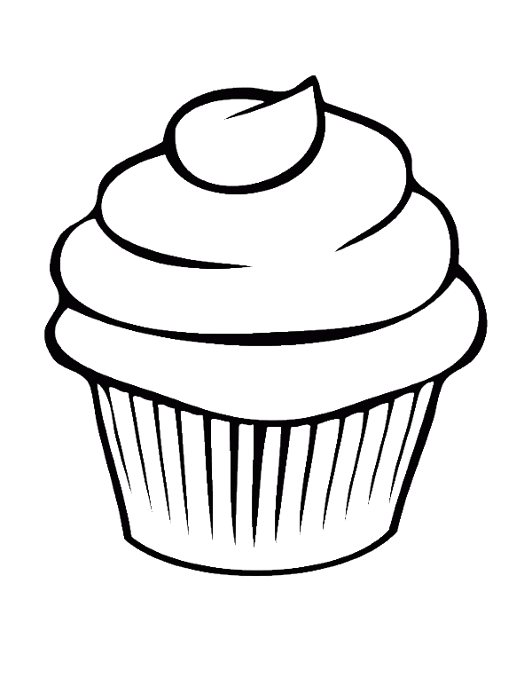 Cupcake line art watercolor. Drawing party coloring clip art library stock