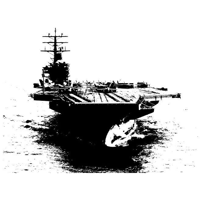 White aircraft carrier. Vector free image in