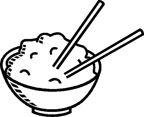 Black and white chinese rice dish png