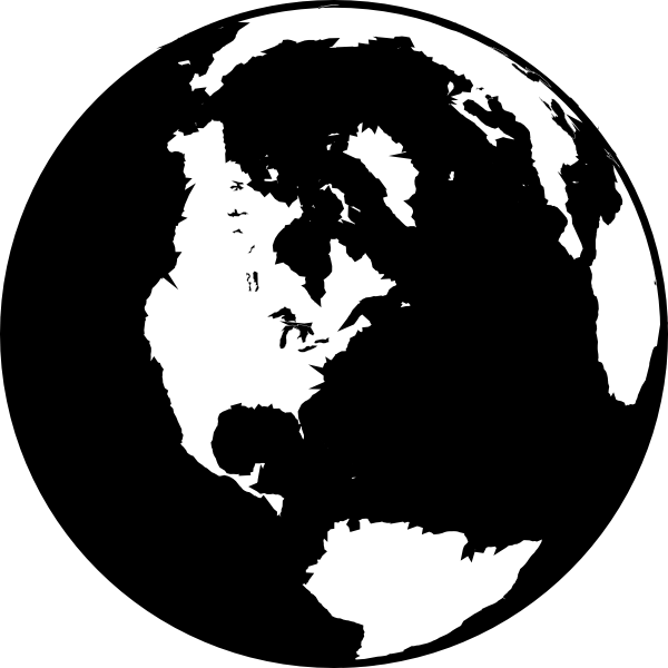 Globe vector png. Black and white clip