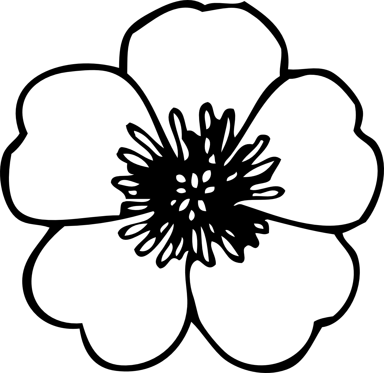 Simple flower png. Clipart black and white