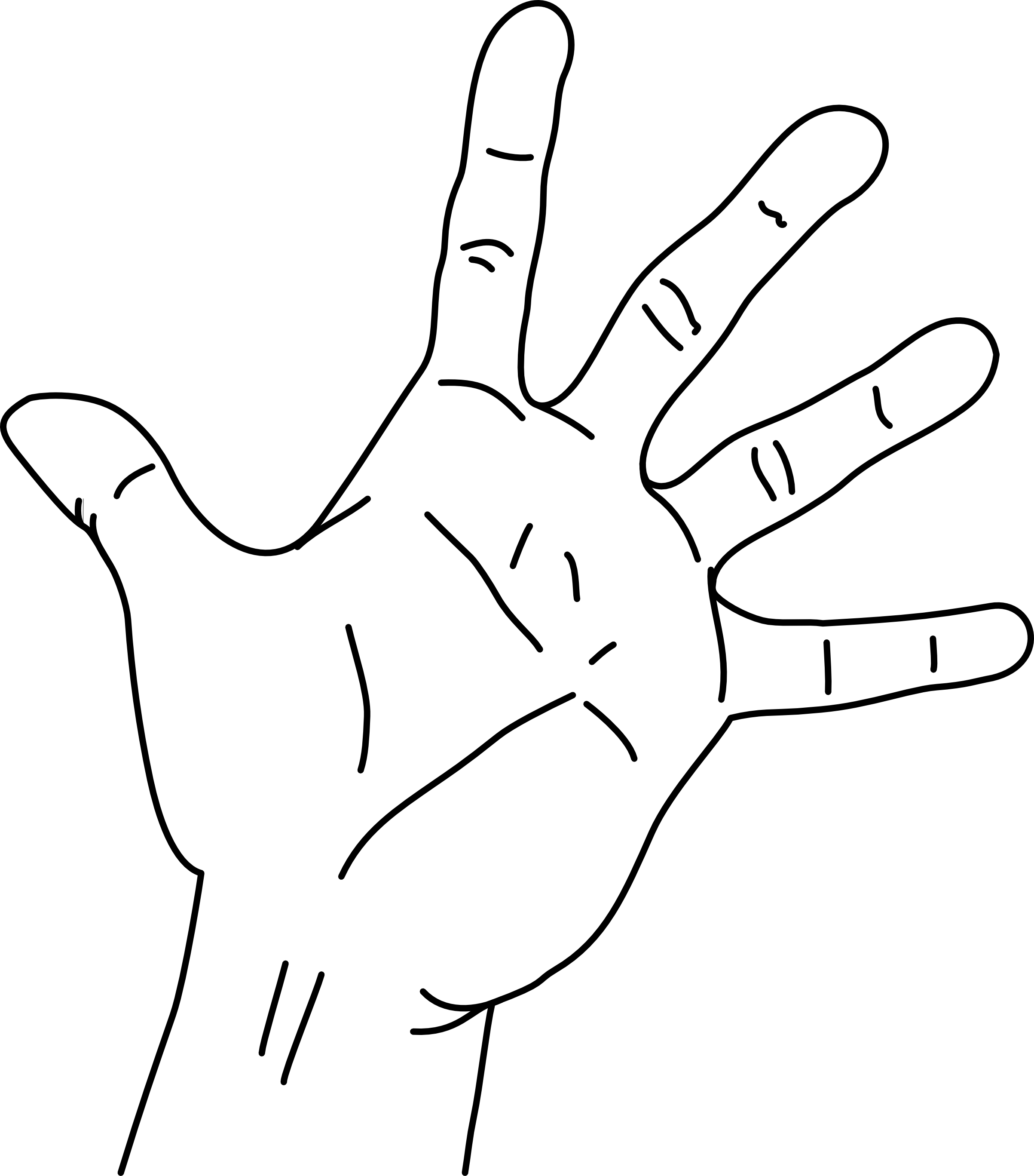 Black and white hands png. File measurements of the