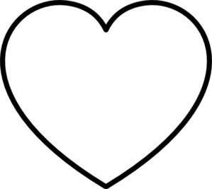 White heart png. With black outline clip