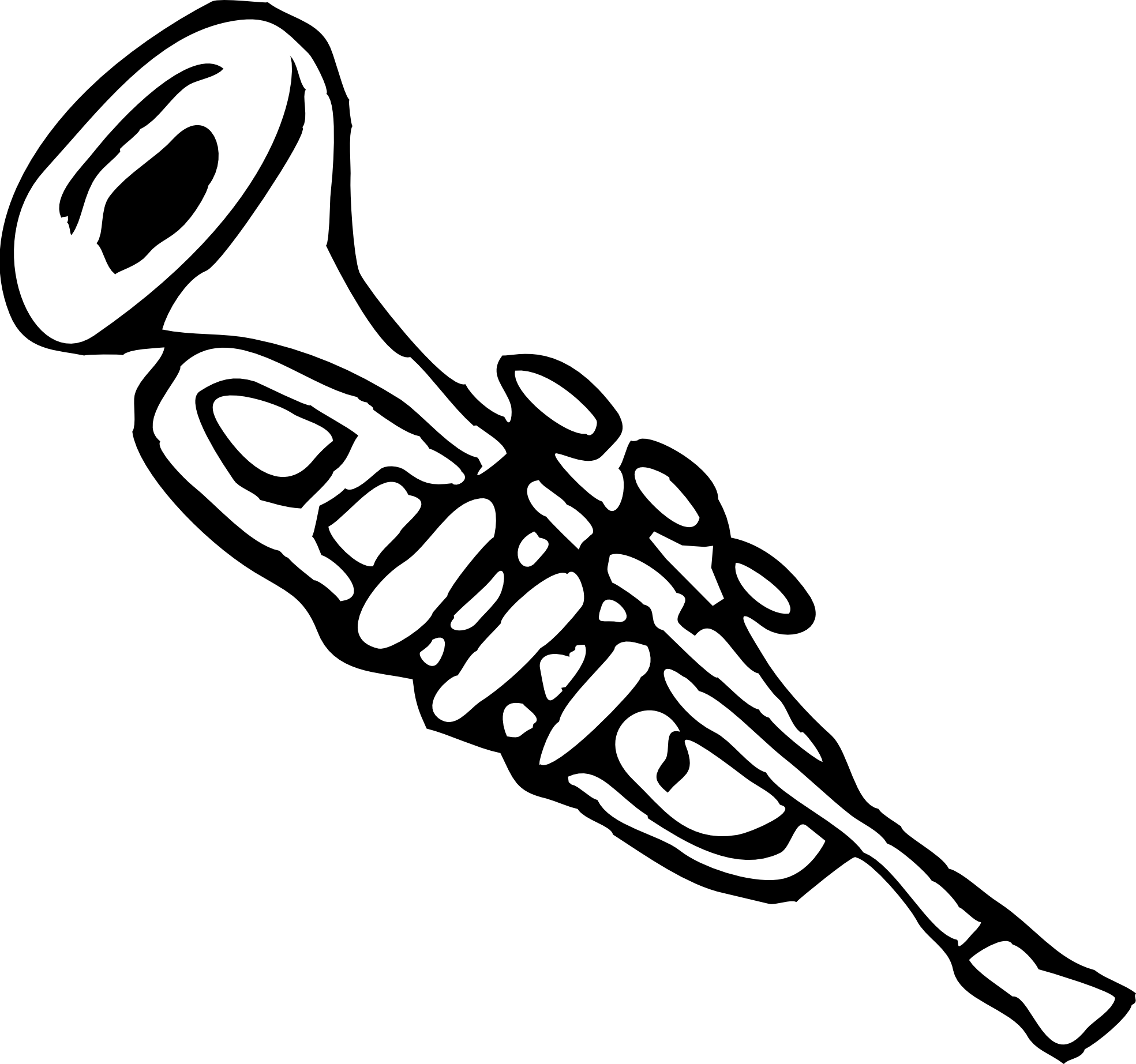Black and white party horn drawing png. Collection of clipart