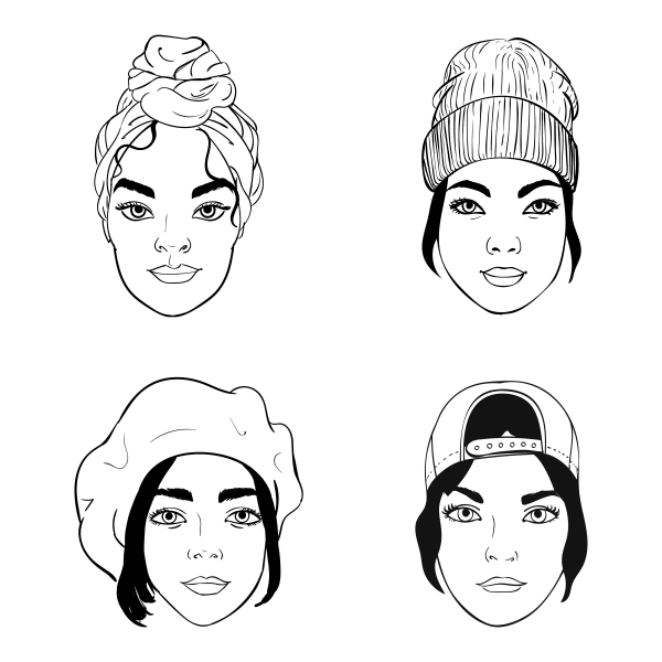 Black and white portraits of girls with different headpieces. Fashion vector illustration