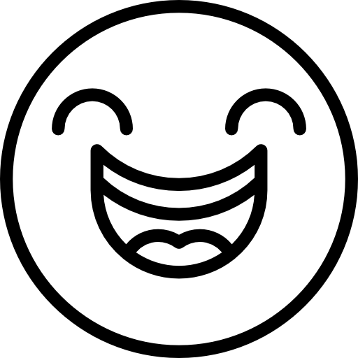 Black and white smiley face png. Happy laughing emoticons emoji