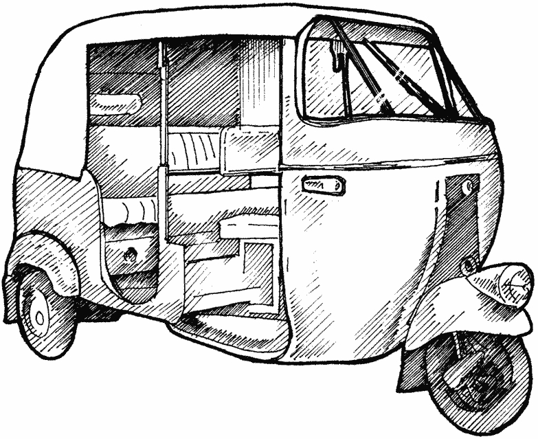 Gray rickshaw. Auto clipart black and