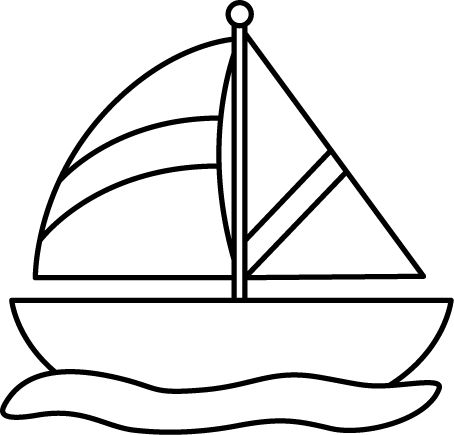 White ship. Boat black and clipart