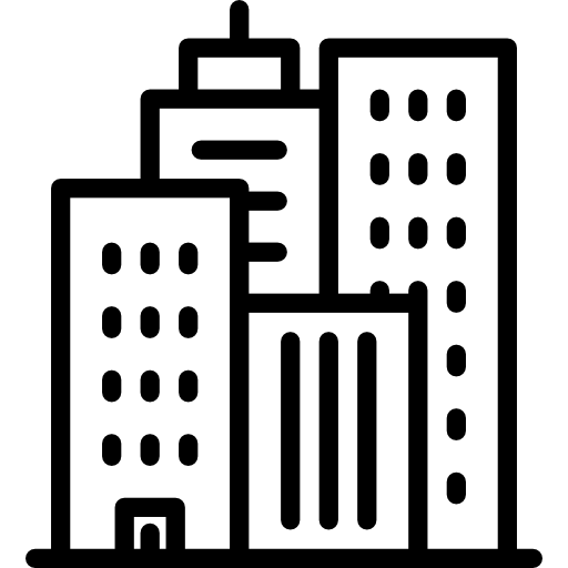 Transparent building icon. Skyline cities architecture and