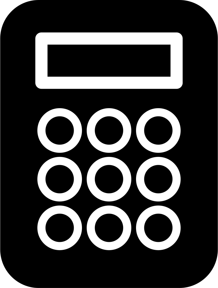 Calculator png icon. Black variant with white