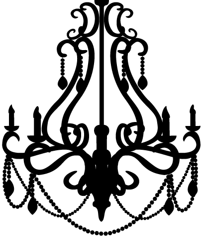 Vintage silhouette at getdrawings. Chandelier clipart banner black and white library