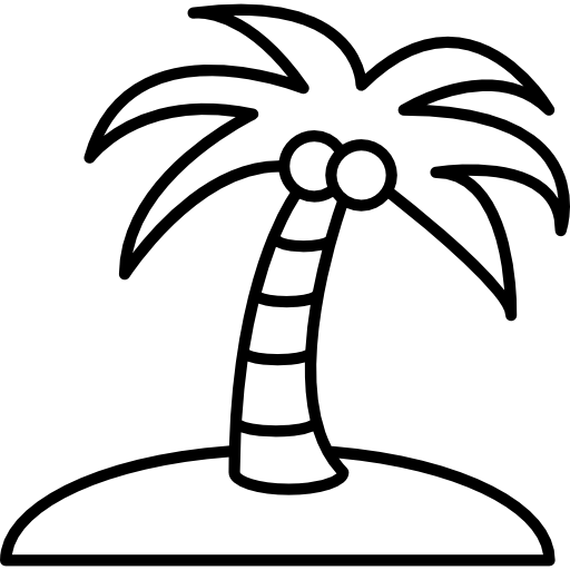 Drawing beach coconut tree. On an island icons