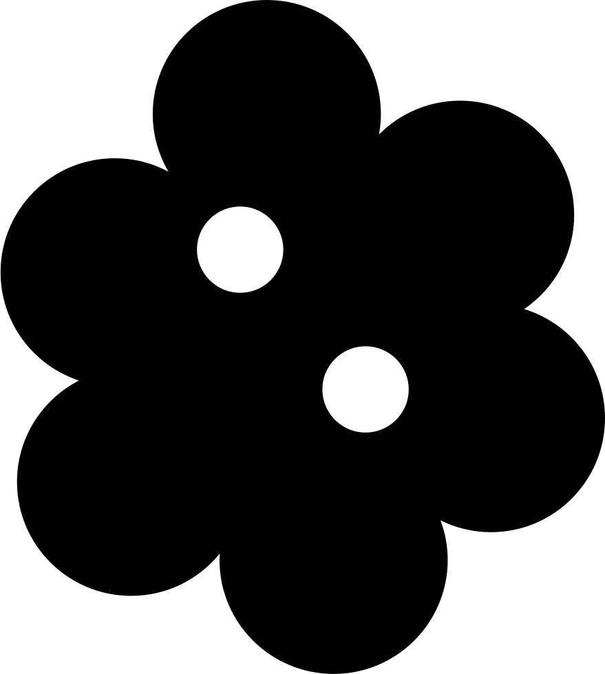 Black clothes button png. Flower shaped svg icon