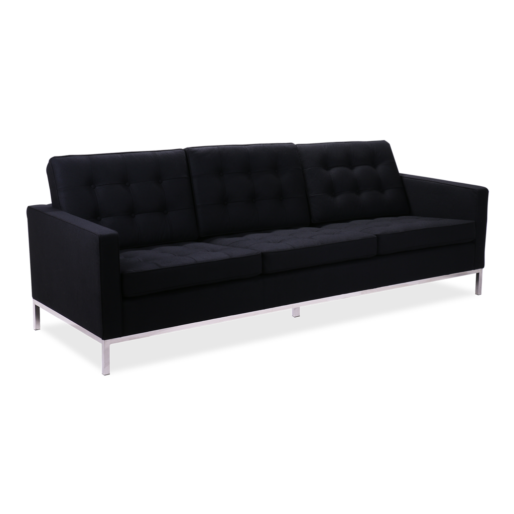 Black couch png. Florence knoll style seater