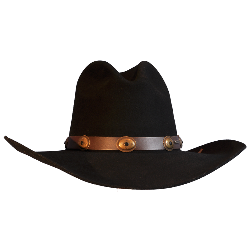 Black cowboy hat png. Wool felt with leather