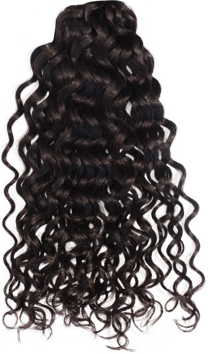 Black curly hair png. From behind look by
