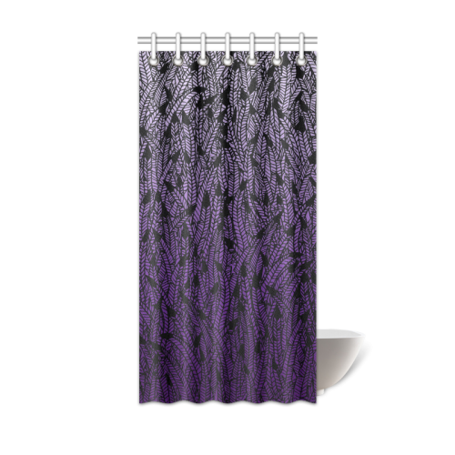 Black curtain png. Purple ombre feathers pattern