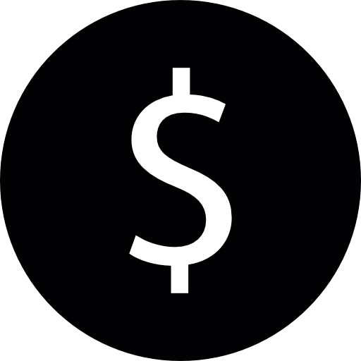Black dollar sign png. Inside circle free commerce