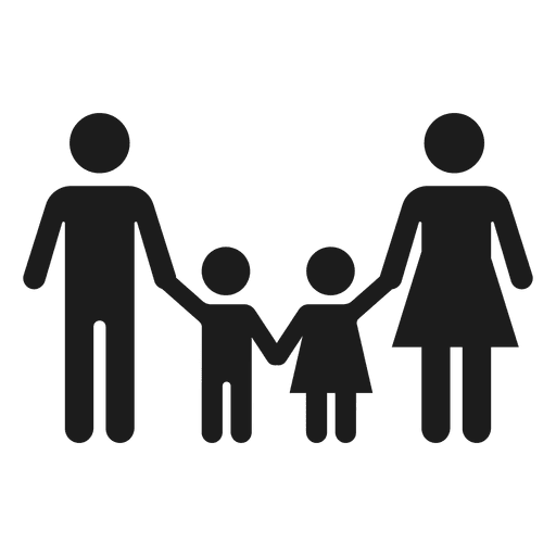 Black family png. With two children icon