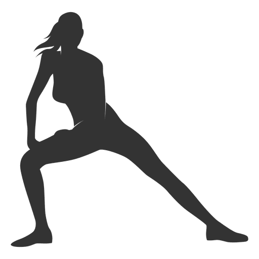 Abs vector female. Fitness woman silhouette streching