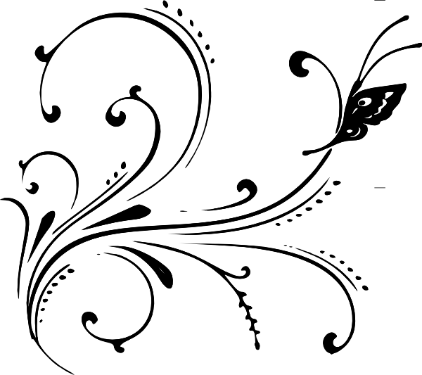 Black flourish png. Butterfly clip art at