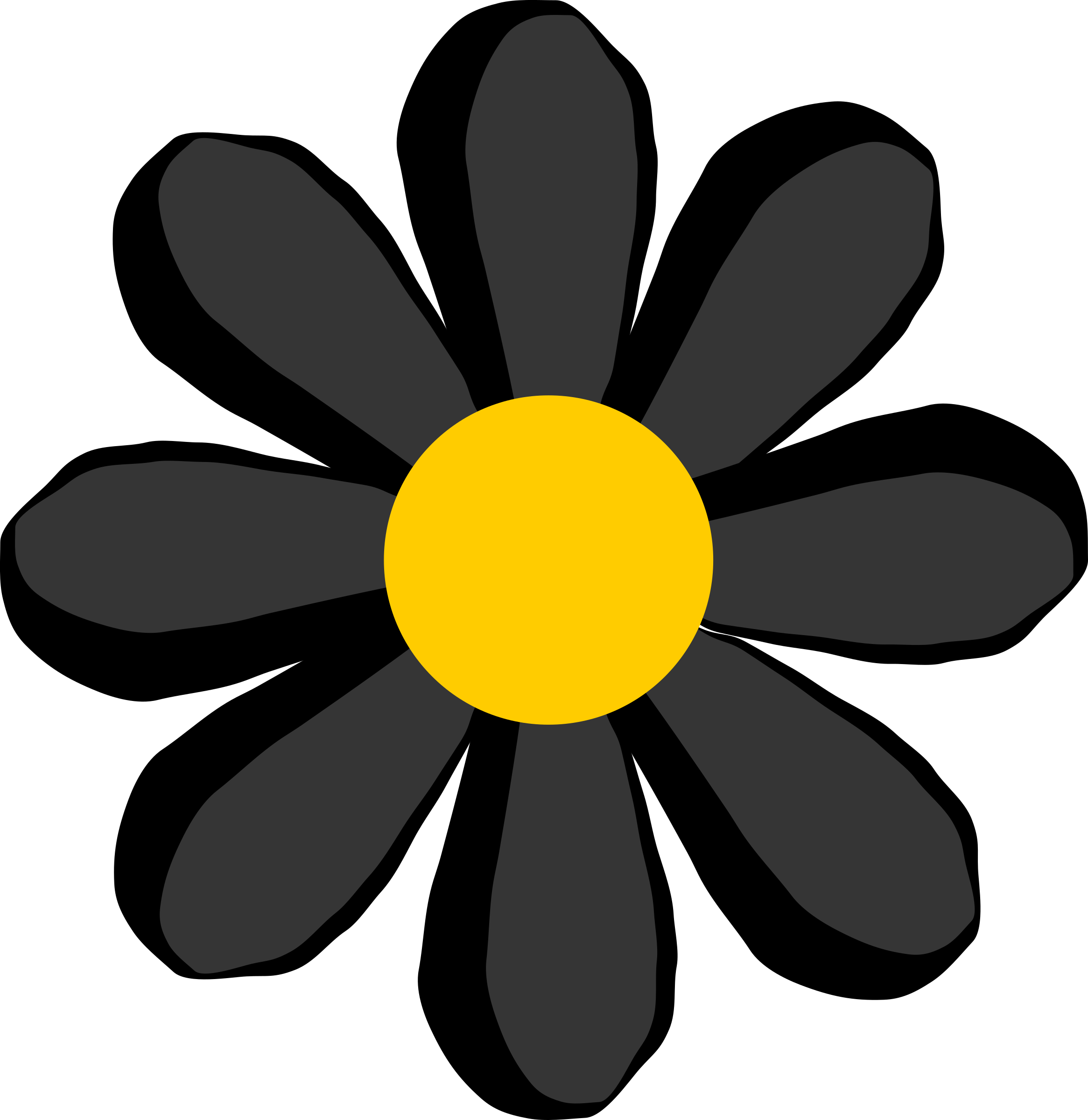 Black flower png. Icons free and downloads