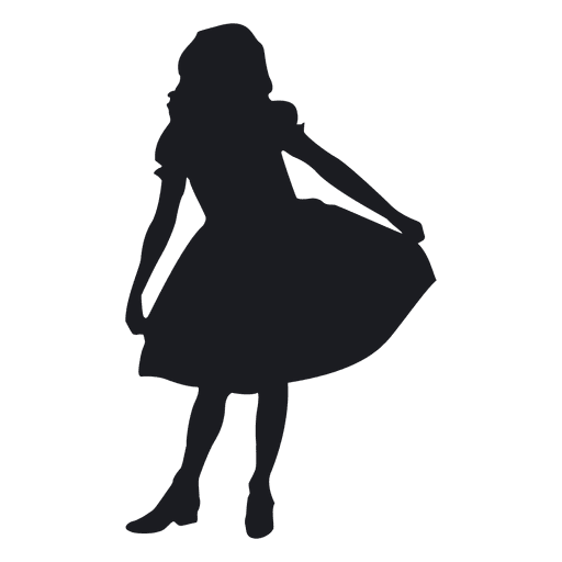 Falling girl png. Little dancing silhouete transparent