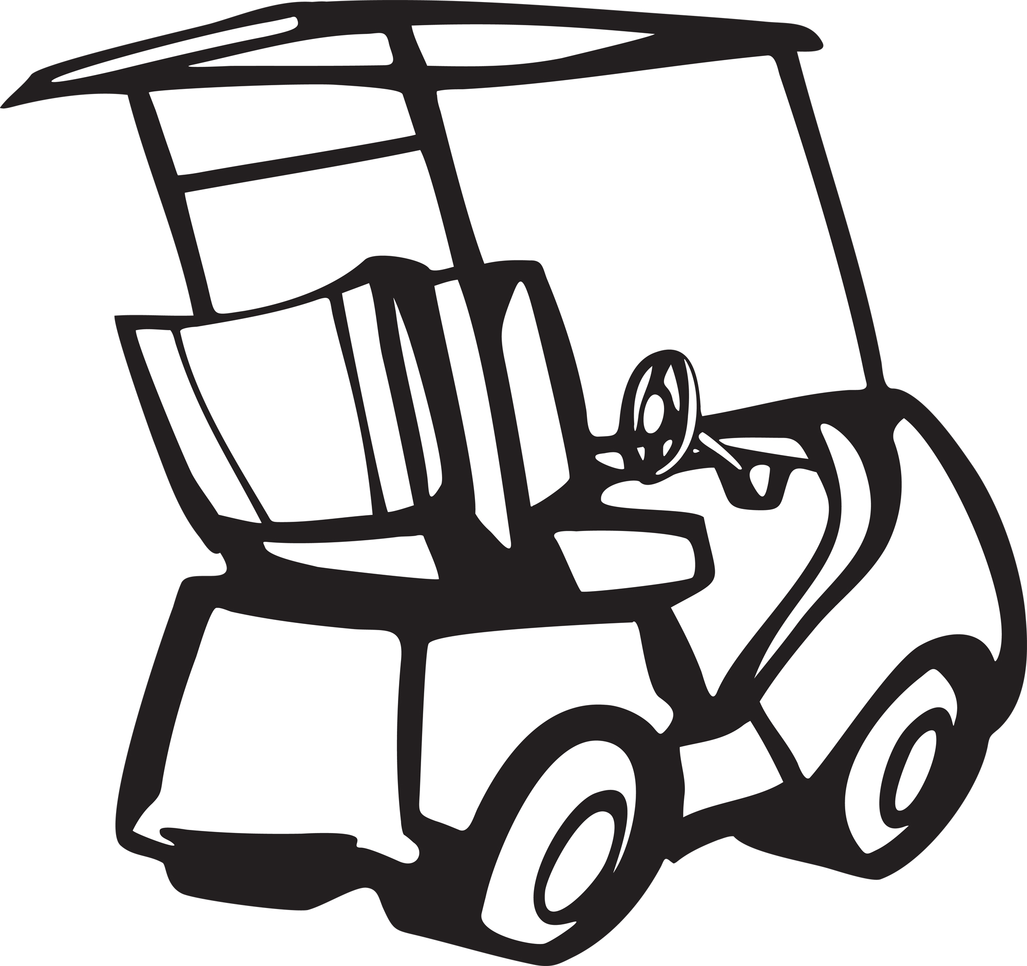 White golf cart. Free clipart download clip