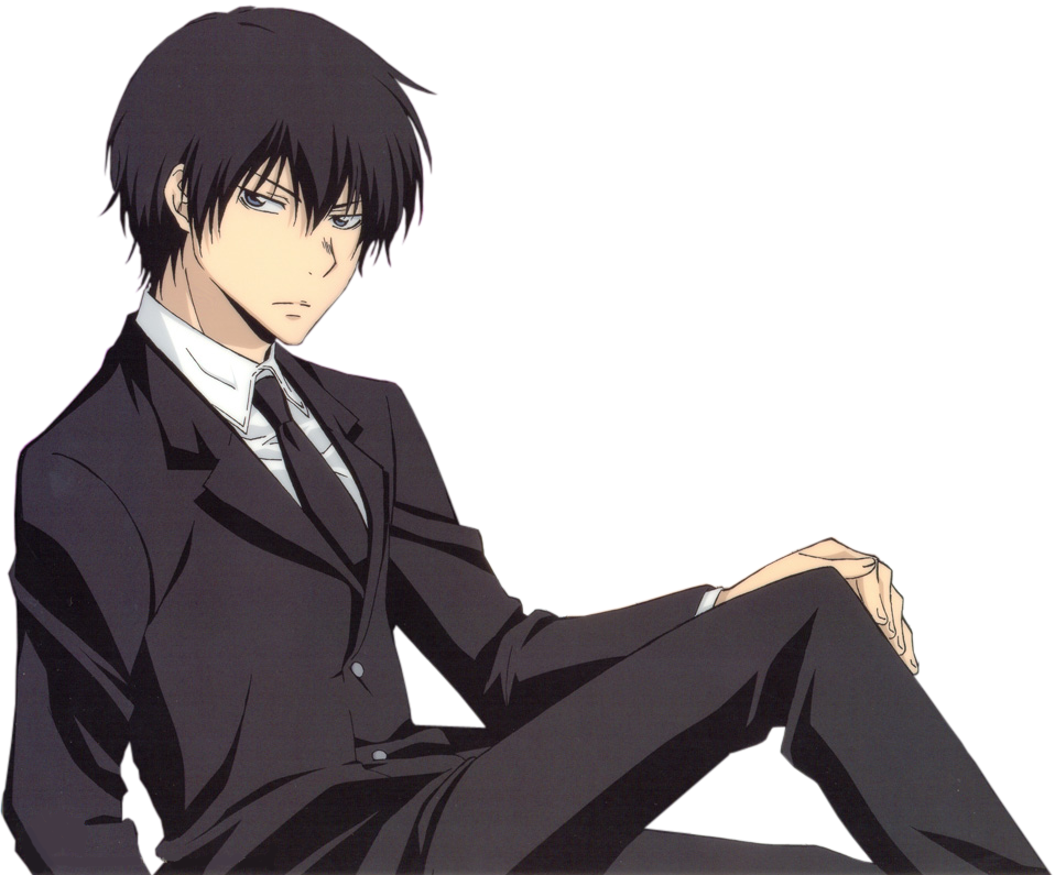 Black hair and clothes anime guy transparent png image. Render hibari fairy tail