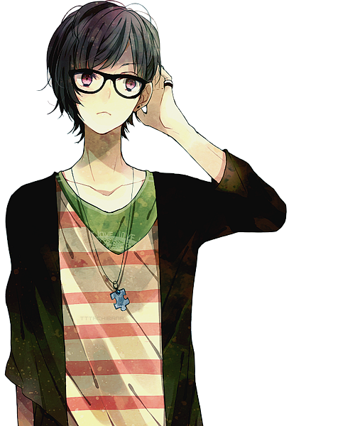 Black hair and clothes anime guy transparent png image. Render by feary bad