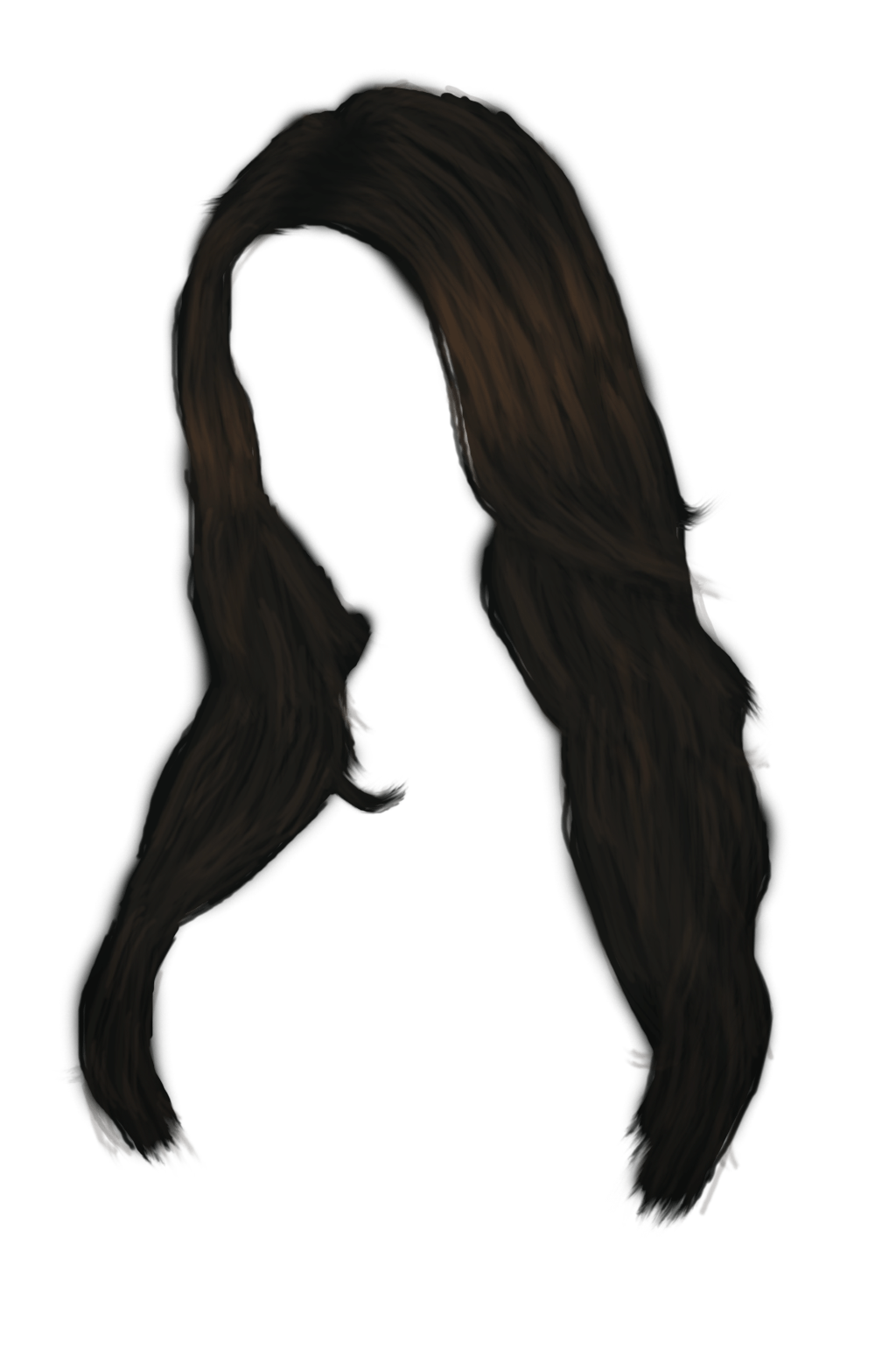 Black hair png. Long women transparent stickpng