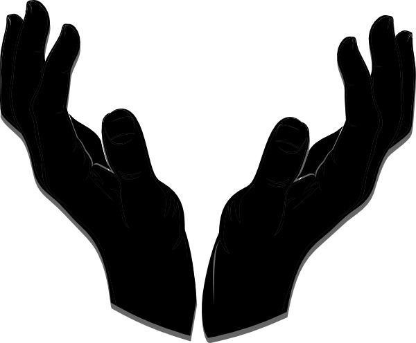Worship hands png. Open hand silhouette at