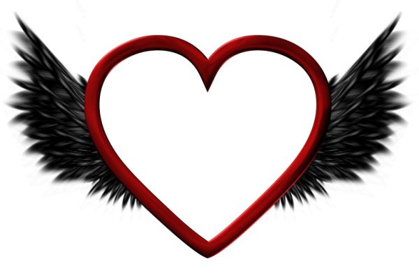 Heart with wings png. Red transparent black picture