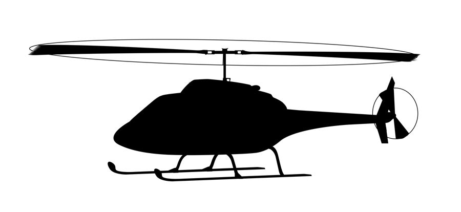 Black helicopter. Silhoutte clipart clip art