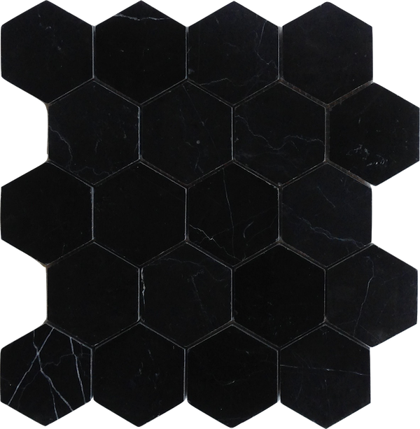 Black hexagon png. Nero marquina marble honed