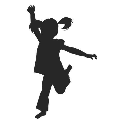 Kids jumping silhouette color png. Girl transparent svg vector