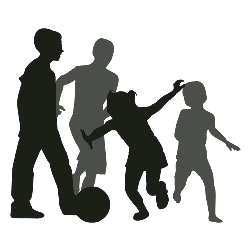 Kids jumping silhouette color png. Chasing ball transparent svg