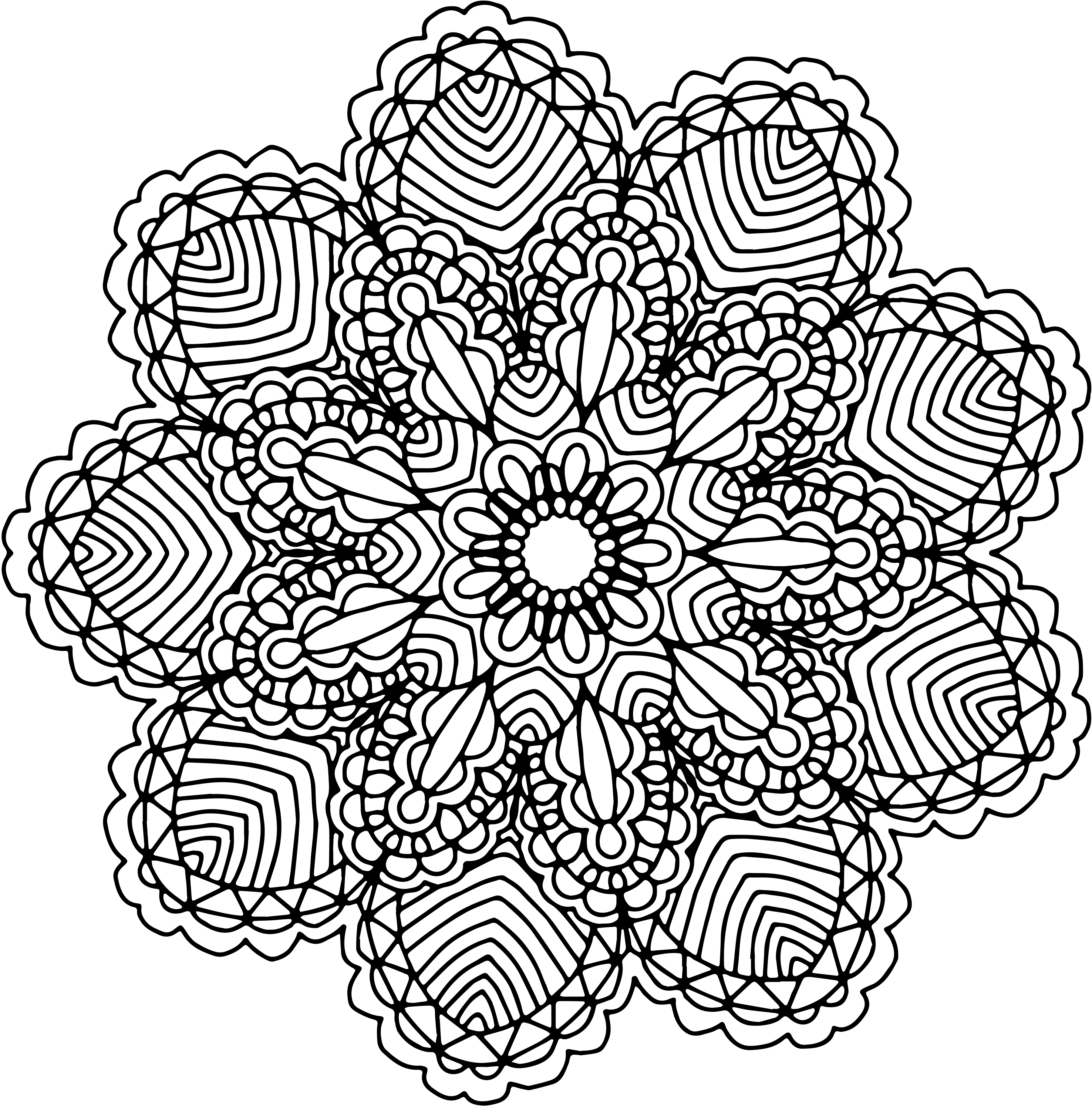 Drawing mandala black and white. Free graphics two hand