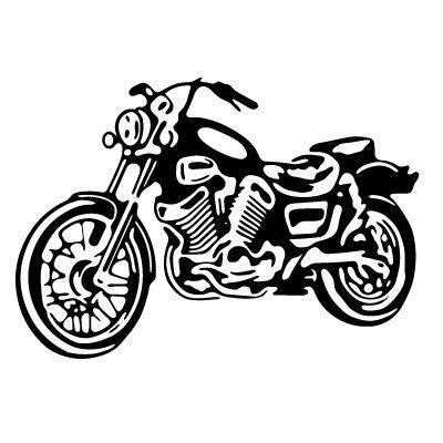 Black motorcycle. Clip art and white