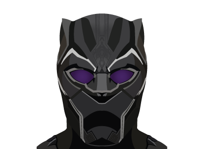 Black panther mask fan art png. Vector illustration by declan