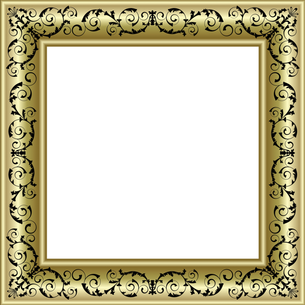 Black picture frame png. Gold photo with ornaments