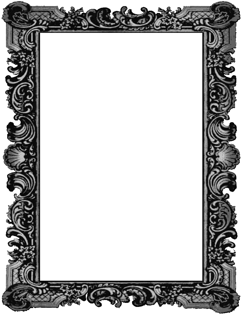 Medieval border png. Old picture frame page