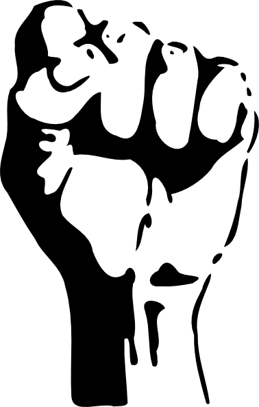 Black power fist png. Raised clip art at