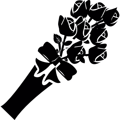 Black rose bouquet png. Flower free icons icon