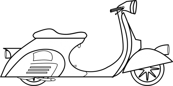 Black scooter. Clipart and white station