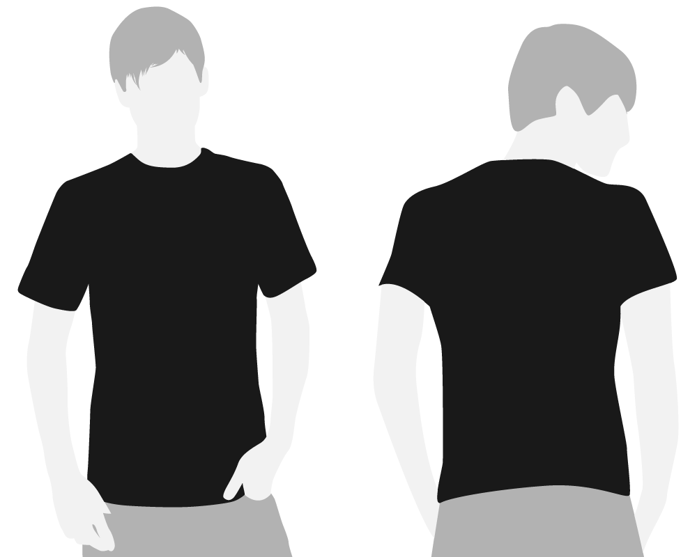 Black t shirt template png. Clipart front and back