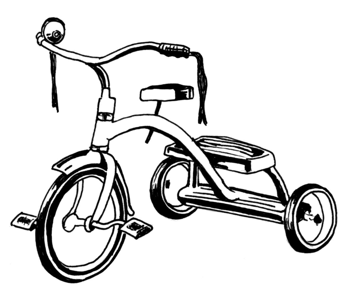 White tricycle. Free clipart black and