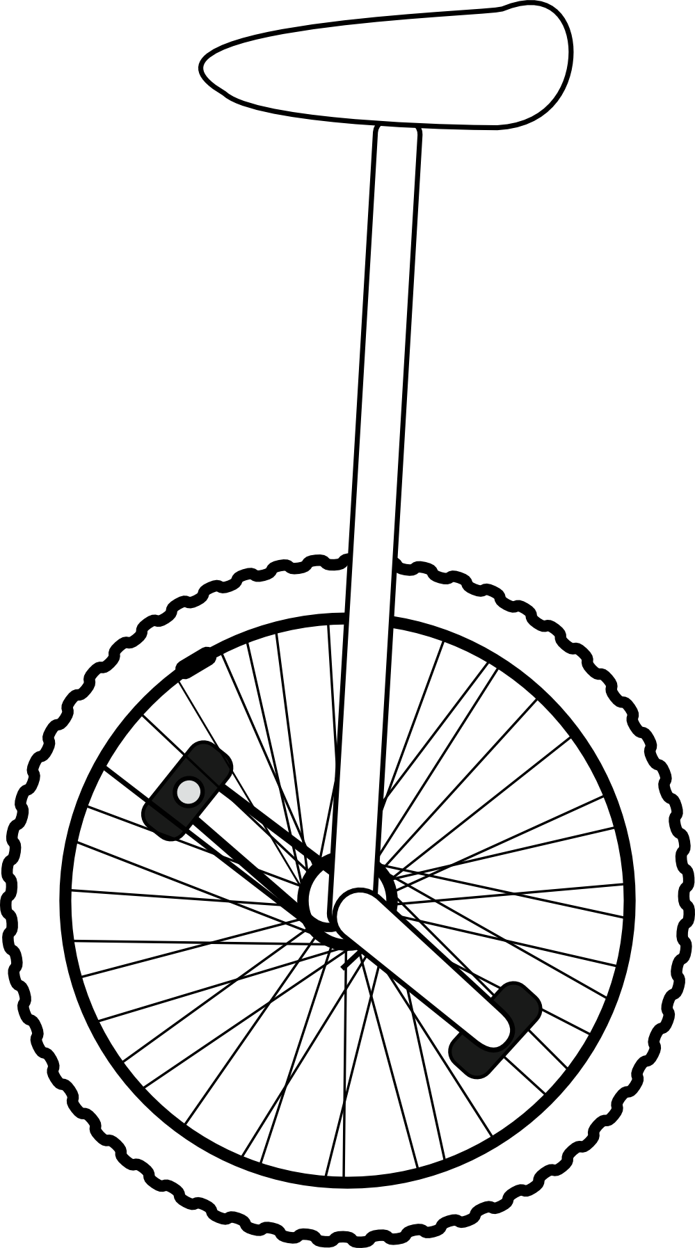 Black unicycle. Line art white clipart