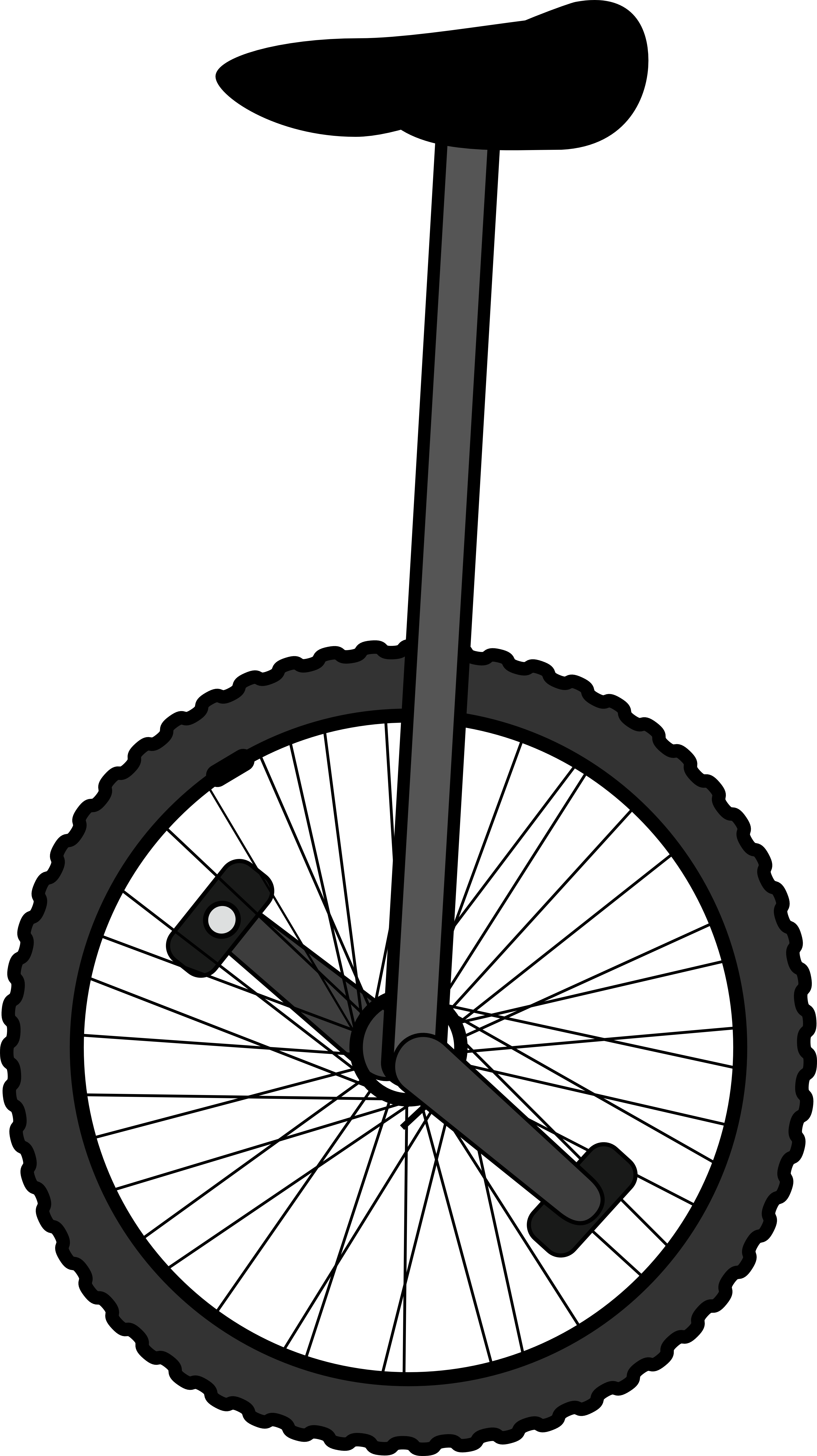 Black unicycle. White line clipart panda